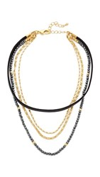 Lacey Ryan Lay It On Choker Necklace Black Gold