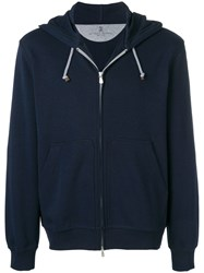 Brunello Cucinelli Zipped Up Hoodie Blue