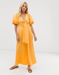 Y.A.S Cotton Volume Sleeve Tie Front Midi Dress In Marigold Yellow