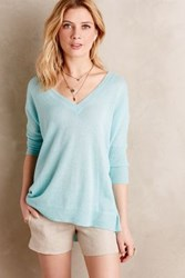 Anthropologie Cashmere Double V Pullover Mint