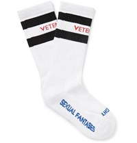 Vetements Striped Stretch Cotton Blend Socks White