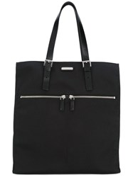 Saint Laurent Double Zip Shopper Tote Men Leather Polyester One Size Black