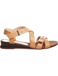 Office Savanna Leather Wedge Sandals Tan Leather