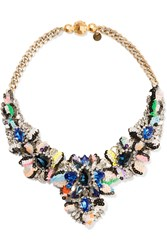 Shourouk Apolonia Gold Plated Crystal And Sequin Necklace Blue