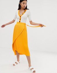 Selected Femme Pleated Wrap Midi Skirt Yellow