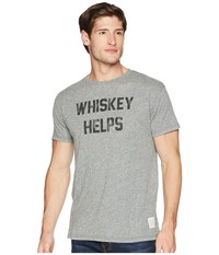The Original Retro Brand Whiskey Helps Short Sleeve Tri Blend Tee Streaky Grey T Shirt Pewter