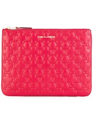 Comme Des Garcons Embossed Zipped Clutch Red