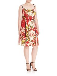 Abs Plus Size Digital Floral Sundress Multi