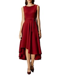 Karen Millen High Low Midi Dress Burgundy
