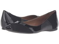 French Sole Star Black Suede Patent Women's Dress Flat Shoes