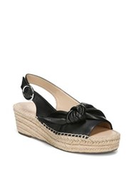 Franco Sarto Pirouette Leather Slingback Espadrille Wedges Black