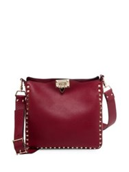 Valentino Small Rockstud Leather Hobo Bag Dark Red