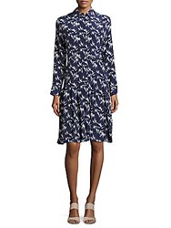 Equipment Shields Pleated Silk Dress Peacoat Navy White
