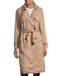 Goldie London Faux Suede Trench Coat Beige