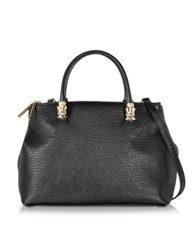 Class Roberto Cavalli Pantera Nera Black Embossed Leather Handbag