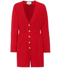 Gucci Wool And Silk Playsuit Red
