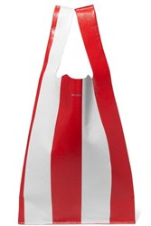 Balenciaga Supermarket Shopper Striped Crinkled Leather Tote Red