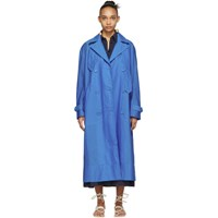 Tibi Blue Windbreaker Trench Coat