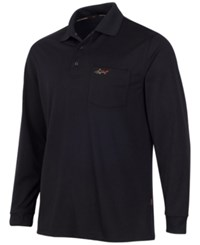 Greg Norman For Tasso Elba Big And Tall 5 Iron Long Sleeve Performance Polo Deep Black
