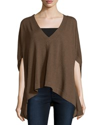Minnie Rose Dolman Sleeve V Neck Poncho Cigar Brown