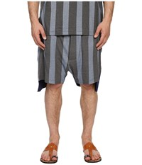 Vivienne Westwood Printed Stripe Jersey Twist Seam Shorts Blue Stripe Men's Shorts