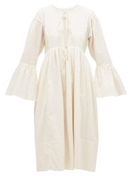 Loup Charmant Minerva Bell Sleeve Cotton Dress Ivory