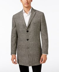 Tallia Big And Tall Men's Black And White Plaid Overcoat Black Offw