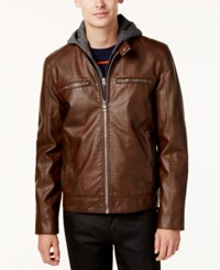 Guess Men's Faux Leather Detachable Hood Motorcycle Jacket Brown
