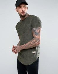 Sik Silk Siksilk T Shirt In Khaki With Curved Hem And Distressing Green