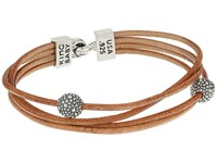King Baby Studio Multi Strand Brown Leather Cord Bracelet W Hook Clasp And Stingray Beads Silver Brown