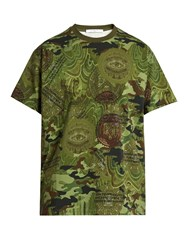 Givenchy Columbian Fit Camouflage Dollar Print T Shirt Green Multi