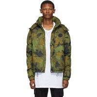 Off White Green Down Paintbrush Camouflage Jacket