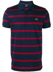 Paul And Shark Striped Polo Shirt Blue