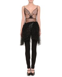 Red Valentino Sleeveless Embellished Sheer Top Black Women's