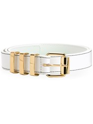 Kenzo Square Buckle Belt White