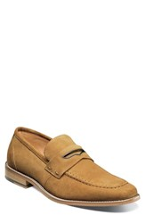 Stacy Adams Colfax Apron Toe Penny Loafer Tan Suede