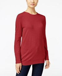 Jm Collection Crew Neck Button Cuff Sweater Only At Macy's New Red Amore