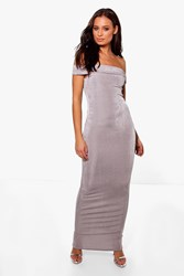 Boohoo Textured Slinky Off The Shoulder Maxi Dress Grey