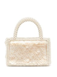 Shrimps Pax Shell Sequin And Faux Pearl Embellished Bag White