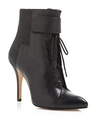 Pour La Victoire Onyx Lace Up High Heel Booties Black