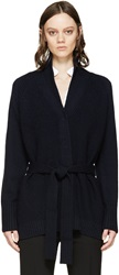 3.1 Phillip Lim Navy Belted V Neck Cardigan