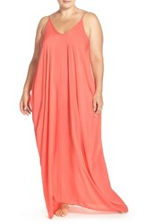 Elan Plus Size Women's Cover Up Maxi Dress Melon