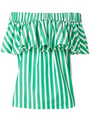 Maison Rabih Kayrouz Striped Off Shoulder Blouse Green