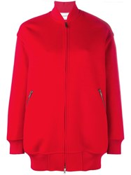 Valentino Long Line Bomber Jacket Red