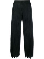 Issey Miyake Pleats Please By Wave Hem Cropped Trousers Black