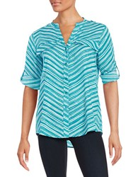 Calvin Klein Striped Roll Tab Blouse Blue White