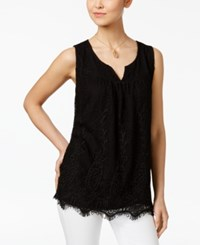 Style And Co Lace Scalloped Hem Top Only At Macy's Deep Black
