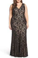 Decode 1.8 Plus Size Women's Illusion Lace A Line Gown