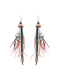 Etro Bead And Feather Embellished Drop Earrings Pink Multi