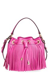 Milly Fringed Leather Bucket Bag Pink